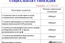 Размеры социальных стипендий